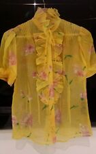 RALPH LAUREN 100% SILK SHEER YELLOW PINK GREEN RUFFLED  BLOUSE us6 uk10 NEW £430