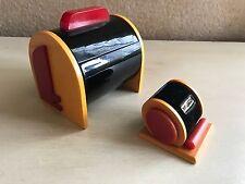 Rare VTG tested 3 Color Art Deco Bakelite/Velvet Ring Holder With Matching Box