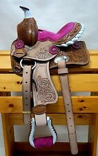 "Popular Kid Western Mini Pony Trail Barrel Saddle 10"" PINK Natural Oak leaf NEW!"