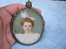 SIGNED ANTIQUE VICTORIAN MINIATURE PORTRAIT PAINTING OF LOVELY GIRL ORNATE FRAME