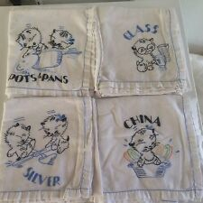 "4 VTG Tea Towels Embroidered Kittens White Blue Black Use or Cutter 32"" x 32"""