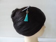 Japanese Kanzashi Hair Stick With Turquoise Tassel Design Kumi Hair Ornament