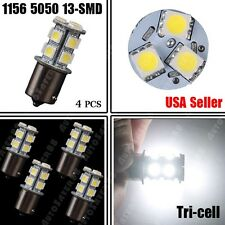 4x White 1156 BA15S 5050 13-smd Car RV Trailer Reverse LED Light Bulbs 7506 1141