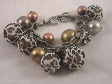 Beaded Cheetah Pattern Charm Bracelet with Gold, Silver & Copper Tones