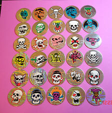 Pogs 30 Different Skulls * Holographic * Poison * Very Nice Collection *