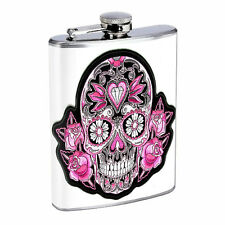 Sugar Skull D14 8oz Hip Flask Stainless Steel Day of the Dead Los Muertos Art