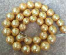 huge 14-15 mm baroque south sea gold  pearl necklace 18inch 14k