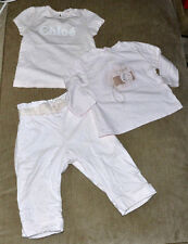 Authentic Chloe Chloé Infant Baby Girl Light Pink Pants and 2 Shirts (12 Months)