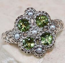 1CT Peridot & Pearl 925 Solid Sterling Silver Edwardian Style Ring Sz 6,F3-10