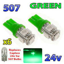 6 x GREEN 24v Capless Hella Spot Light 507 W5W 5 SMD T10 Wedge Bulbs HGV Truck