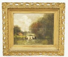 OIL PAINTING ON CANVAS OF GRAZING COWS WITH A FARM IN THE BACKGROUND... Lot 1078