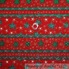BonEful Fabric FQ Cotton Flannel Red Green White Xmas Snowflake Star Stripe Dot