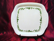 Lenox Holiday Square Handled Cake Plate Hollies & Berries Gold Trim 12 1/2""