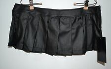 Lip Service, Extra Large, Pleated, Leather Look, Skirt, Party, Mini, Black