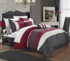 Luxurious 6-Piece Embroidered Comforter Set Bedding King Size Bed Red Gray White