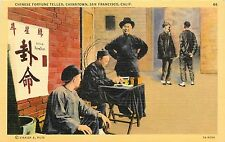 Linen Postcard Used 1942 Chinese Fortune Teller Chinatown San Francisco CA
