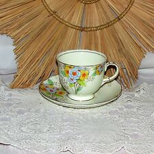 VINTAGE FOLEY FINE BONE CHINA CUP & SAUCER HAND PAINTED FLOWERS ENGLAND NICE!