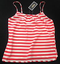 NWT Juicy Couture New & Genuine Ladies Small Orange & White Silk Cami Top UK 10