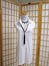 Helmut Lang Perfect White Sleeveless Tunic NWT $255 M Stretch Cotton Button
