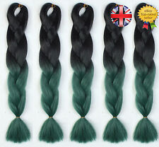 "5 Packs 24"" Black & Green Ombre Dip Dye Kanekalon Jumbo Braiding Hair Extensions"