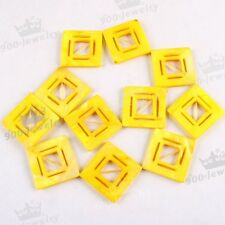 Strand 38mm Yellow Square Mother Of Pearl Shell Hollow Out Loose Bead Findings