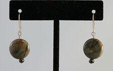 Fair Trade Jasper Seed Pearl Sterling Silver French Hook Earwire Drop Earrings