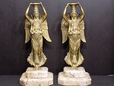Fabulous French Empire Winged Victory Brass / Bronze Candle Holders Granite Base