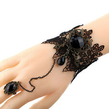 Women Black Lace Metal Crystal Beads Bracelets Chain with Adjustable Ring Newest