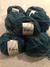 Madil Yarn - Rebus - 7 Full Skeins - Wool Blend - Soft Boucle - Blue Teal Mix
