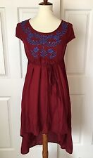 World Market Dress Red Blue Embroidered Floral S/M Hi-Lo Boho Style Cap Sleeve