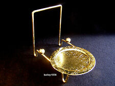 Tea Cup & AND Saucer Stand BRASS Etched Engraved Base Display Tripar #23-2452