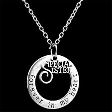 Family Necklace Pendant Sister English Letter Round Love Silver Necklace Chain