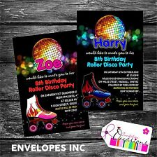Personalised Birthday Invitations Roller Disco Party x 5