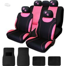 New Front & Rear Black & Pink Polyester Seat Covers Mats Paws Set For Ford