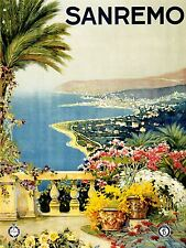 ADVERTISING TRAVEL TOURISM SANREMO ITALY BEACH BAY SEA FLOWERS POSTER LV1295