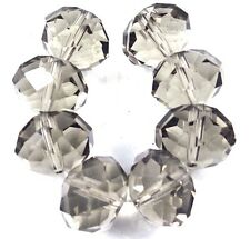 18x13mm Large Light Smoky Glass Quartz Faceted Rondelle Beads (8)