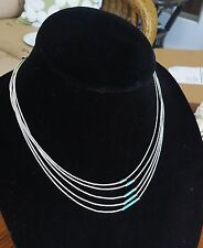 Vintage STERLING LIQUID SILVER NECKLACE 5 Strands turquoise