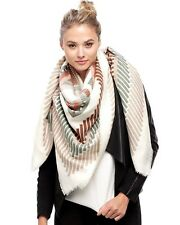 Women's Ivory Indian Aztec Pattern Square Scarf