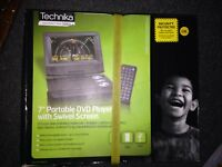 "Technika 7"" Portable Dvd Player With Remote Swivel Hd Screen New Boxed Uk"