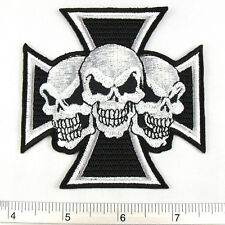 """Skull Cross embroidered iron on patches appliques 3.25x3.25"""""""