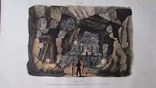 Gravure en couleur du XIXè. Mine de Clausthal du Haut Hartz. Allemagne