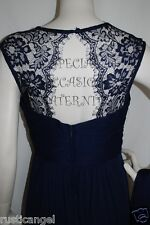 New Long Navy Blue Lace Cutout Back Maternity Dress Gown Chiffon 3X Bridesmaids