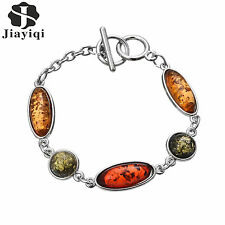 Funny Natural Amber Wrap Bracelet Womens Vintage Silver Plated Bangle Jewelry