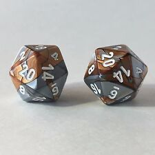 2x Gemini Copper Steel White D20 Dice (16mm) Chessex Magic Dungeons Dragons RPG