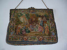 VINTAGE ANTIQUE HANDBAG TAPESTRY CLASP BRASS CHAIN NEEDLEPOINT EMBROIDERED