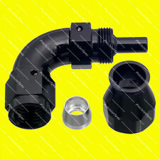 AN4 4AN JIC 90 DEGREE SWIVEL PTFE FUEL OIL HOSE END FITTING - BLACK
