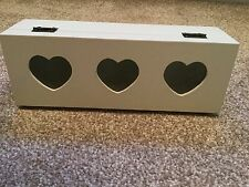 Cream Wooden Tea/Storage Box Glass Fronted Hearts 3 Sections