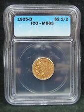 1925 D $2 1/2 Gold Indian - Certified Icg Ms 63
