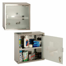 Metal Wall Mounted Lockable Medicine Cabinet Cupboard First Aid Box Glass Door