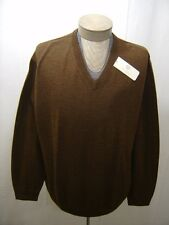 Turnbury Mens Polo 3X Big 3XB Brown 100% Wool Knit Rib Sweater V-Neck Pullover